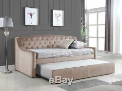 Brand New 3FT Crushed Velvet Fabric Dream DayBed With Trundle Champagne