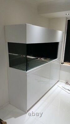 Brand New Peninsula Fish Tank And White Gloss Cabinet