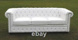 Brand New White Bycast Leather Chesterfield Diamante 3 Seater Setee Sofa