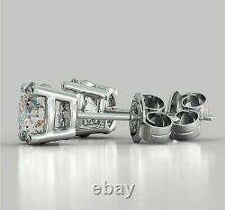 Brilliant Round 2.00 Carat Solitaire Diamond Earrings Stud Solid 14K White Gold