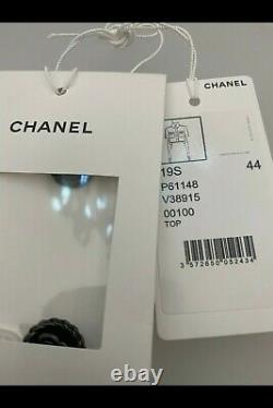 CHANEL RUNWAY COLLECTION'CHANEL' Short Sleeve Button Collar Shirt Brand New