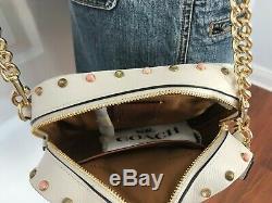 COACH 52243 Resin Border Rivets Camera Small Crossbody Handbag Chalk Dust Bag