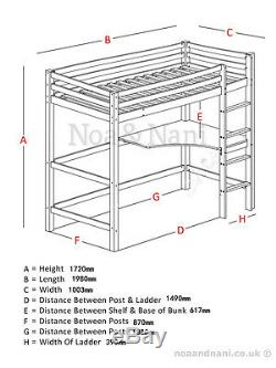 Cabin Bed High Sleeper with Desk in White, Bunk Bed Kids Bed Sleeper