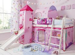 Cabin Bed Mid Sleeper Pine Kids Bed with Slide Fairies Tent 70FA