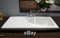 Ceramic 1.5 Bowl Kitchen Sink with Waste by Rak Ceramics White 20 Year Guarantee
