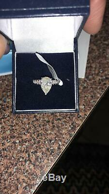 Certified 2ct Pear Cut E-F VS Diamond Solitaire 14k White Gold Engagement Ring