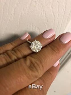 Certified 4.1ct Round Brilliant Diamond Solitaire 14k White Gold Engagement Ring