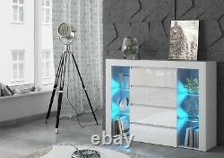 Chest of 4 Drawers Sideboard tv unit cabinet White Gloss Fronts