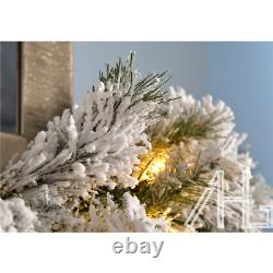 Christmas Garland 9ft Deluxe Super Thick Pre-Lit LED Snow Flocked Vancouver Pine