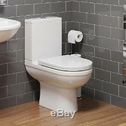 Close Coupled Bathroom Toilet Space Saving 360mm Pan Soft Close Seat Dual Flush