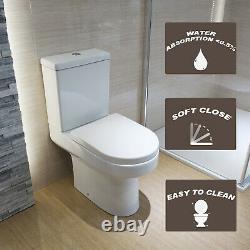 Close Coupled Toilet Rimless Soft Close Seat Ceramic Gloss White Bathroom WC Pan