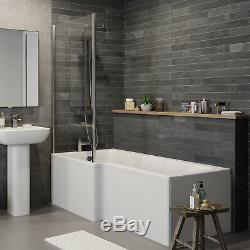 Complete L Shaped Bathroom Suite Close Coupled Toilet Basin Bath Screen Taps Set