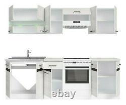 Complete White Low Gloss Oak Effect Kitchen Cabinets Set 7 Unit Cupboard Junona