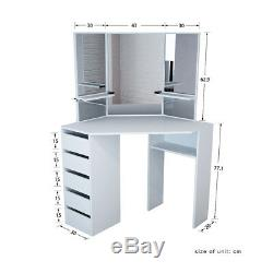 Corner Dressing Table In White Makeup Desk With Mirror Stool With Drawers