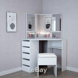 Corner Dressing Table Stool Vanity Set White Makeup Dresser Mirror 5 Drawers