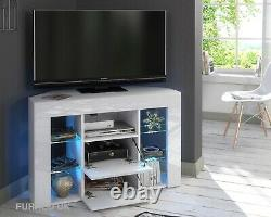 Corner TV Stand White High Gloss & Matt Modern Unit Cabinet LED Lights Venico1