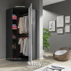 Corner Wardrobe White High Gloss &Matt Modern Bedroom Storage LED Lights CL14