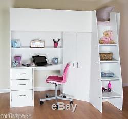 Cornwall High sleeper Cabin Kids Bed Desk Shelves Wardrobe White R2100W