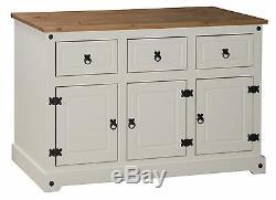 Corona Cream Painted Large 3 Door 3 Drawer Sideboard by Mercers Furniture