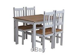 Corona Dining Set in Pine and White with Table and 4 Chairs RRP £200
