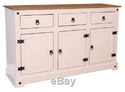 Corona White Painted Large 3 Door 3 Drawer Sideboard by Mercers Furniture