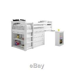 Cream Cabin Bed Midsleeper Kids Bed Storage + Desk