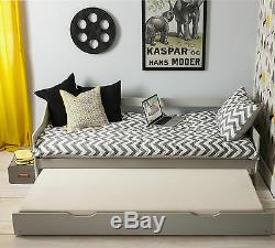 Day Bed Single Bed with Underbed. In Silk Grey 2 beds in 1 Pull out Trundle