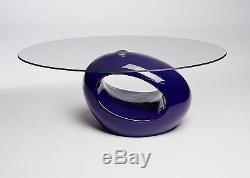 Designer Oval Black Red White Glass Coffee Table Contemporary Modern Retro