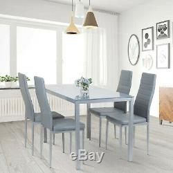 Dining Rectangle Table and 4 PU Chairs Set Kitchen Dinning Room Black White Grey