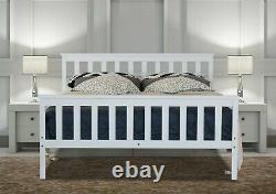 Double Bed Frame White 4'6FT Solid White Wooden Bed For Adults Kids 190 135cm