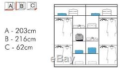 Double Mirror Sliding Door Chicago Wardrobe LED Light Six Colors and Five Sizes