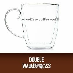 Double Wall Design Glass Tea Coffee Cup Heat-resistant Clear Thermo Mug 500ML UK