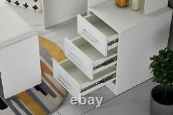 Dressing Table Stool Bedroom Vanity Set Makeup Desk With Mirror & 4 Drawer White