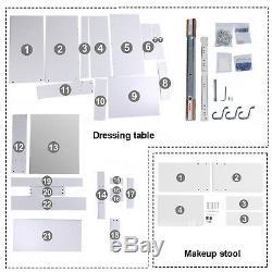 Dressing Vanity Table Makeup Desk Sliding Mirror Shelves Drawer Wood White Stool