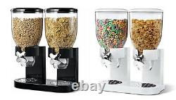 Dry Food Storage Double Cereal Dispenser Pasta Container Machine Black / White