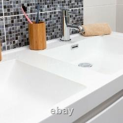 Eaton Gloss White Bathroom Storage Wall Hung Double Sink & Vanity Unit 120cm