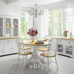 Extendable Round Wooden Dining Table in White/Natural 6 Seater