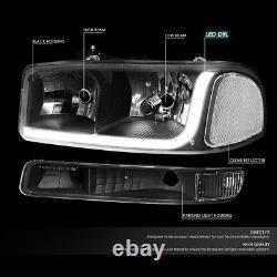 FOR 99-07 GMC SIERRA/YUKON LED DRL BLACK CLEAR HEADLIGHTS WithBUMPER SIGNAL LAMPS
