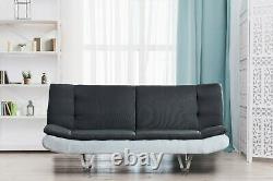 Fabric Sofa Bed 3 Seater With Faux Leather Charcoal Grey & White, Chrome Legs