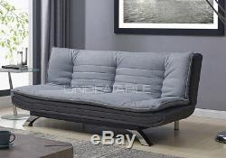 Fabric Sofabed 3 Seater Egg Grey or Charcoal Fabric and Faux Leather Sofa Bed