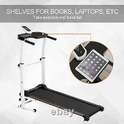 Folding Manual Treadmill Fitness Walking Machine Adjustable Height Black&White
