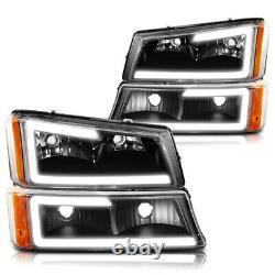 For 03-07 Chevy Silverado/Avalanche LED DRL Bumper Headlight/Lamp Black/Amber