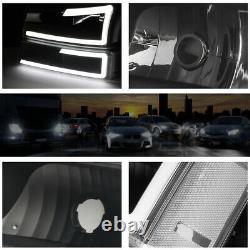 For 03-07 Chevy Silverado/Avalanche LED DRL Bumper Headlight/Lamp Black/Clear