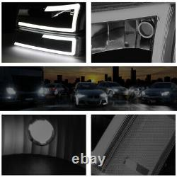 For 03-07 Chevy Silverado/Avalanche LED DRL Bumper Headlight/Lamp Black/Smoked