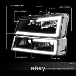 For 03-07 Chevy Silverado Avalanche Led Drl Headlight Bumper Lamps Black/claer