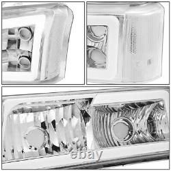 For 03-07 Chevy Silverado Avalanche Led Drl Headlight Bumper Lamps Chrome/clear