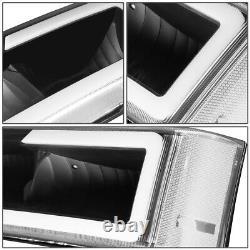 For 2003-2007 Chevy Silverado Avalanche Led Drl Bumper Headlight Black Clear