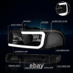 For 99-07 GMC Sierra/Yukon XL LED DRL Headlight with Bumper Lamp Tinted/Clear 4Pcs