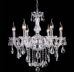 French Provincial Glass Chandelier 6 Lamp Arms Ceiling Light Lighting Clear