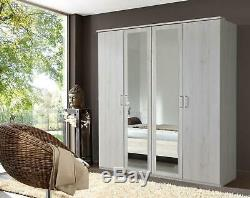 German Driftwood White Oak 4 Door 2 Mirror 180cm Wardrobe Shabby Chic